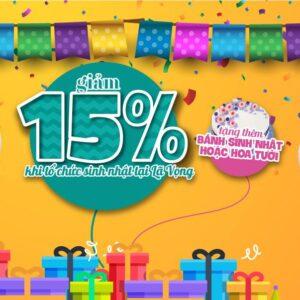 Tổ chức tiệc sinh nhật ưu đãi đến 15% banner
